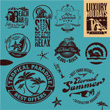 Summer Beach Holidays. isolated labels collection.