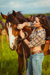 woman posing with horse