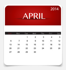Simple 2014 calendar, April. Vector illustration.