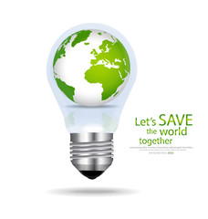 Save the world, Light bulb with globe inside. Vector illustratio