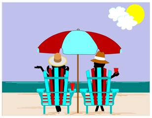 people on beach relaxing concept