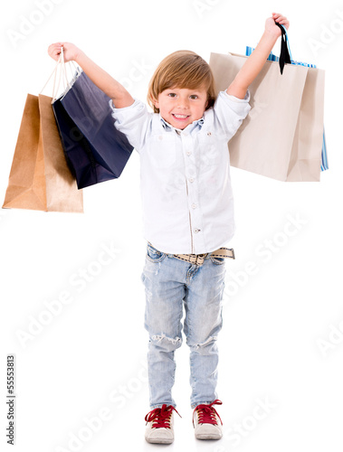 Happy boy shopping