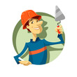 builder with trowel vector illustration isolated on white