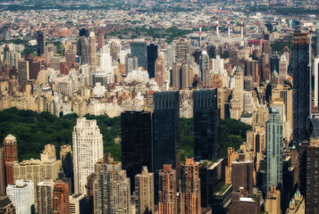 Manhattan, New York. Stunning aerial view of Central Park and su
