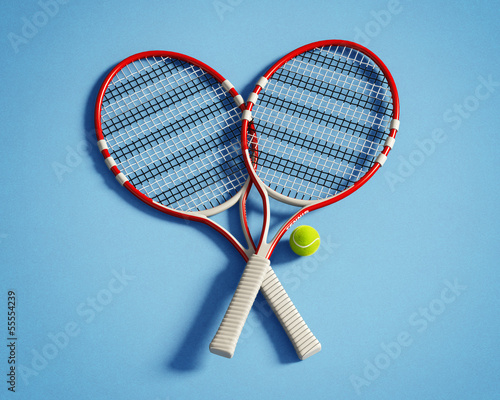 Isolated red tennis racquets with ball on blue background