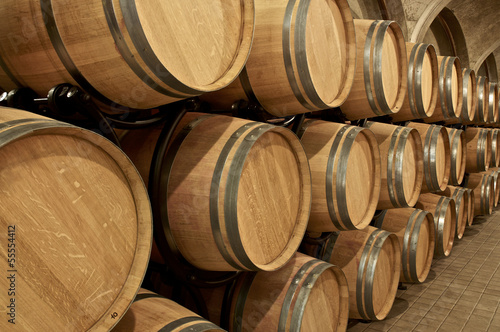 Wine barrel stored in wine cellar