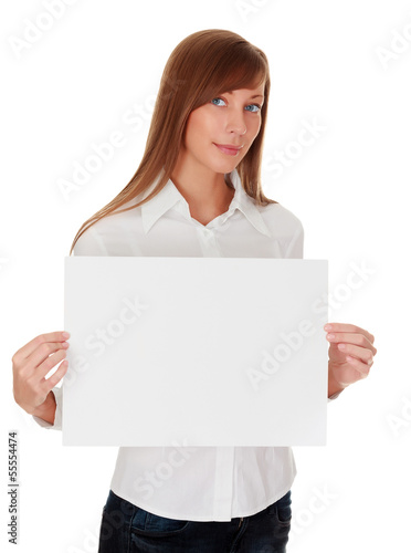 Woman with blank white board
