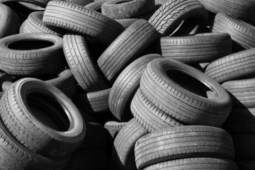 Pile of old used automotive tires