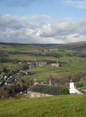 yorkshire farmhouse overlooking dales valley