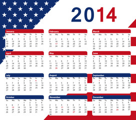 2014 american calendar with public holidays and flag colors.