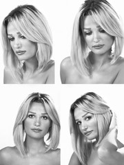Woman x 4 expressions in monochrome collage