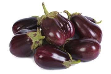 heap ripe eggplant isolated on white background