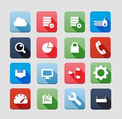 Flat hosting icons