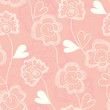vector seamless floral background with hearts for your design