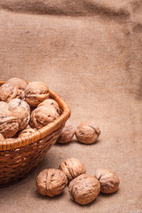 Walnuts Close-up On The Sackcloth Background