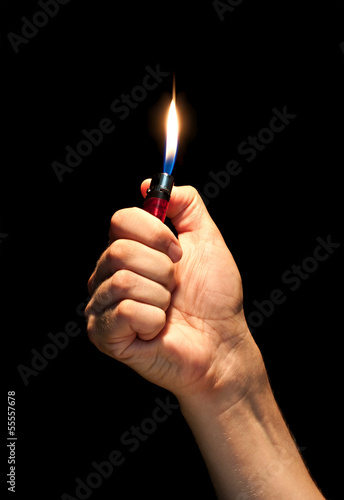 Aluminium Vuur / Vlam Man hand holding burning lighter