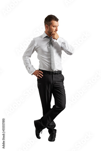full length portrait of thinking man