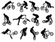 12 bmx stunt silhouettes - vector - 55558085