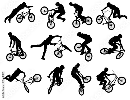12 bmx stunt silhouettes - vector - 55558085