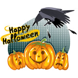 Halloween background with funny pumpkins and crow, eps10