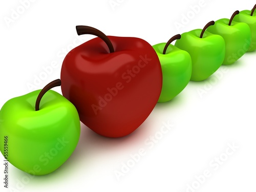 One red apple among row of green apples