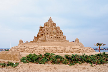 sandcastle on the beach in winter