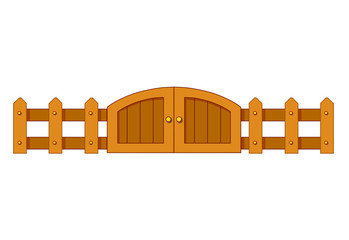 wooden fence and door isolated illustration