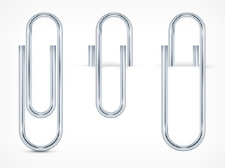 Metallic clips on white paper sheet, vector illustration