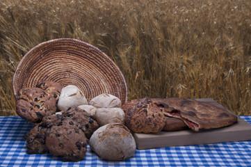 pane casereccio  su sfondo di un campo di grano