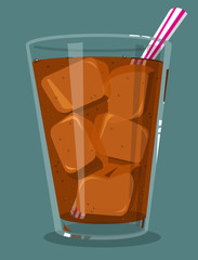 Glass of soda with ice and a straw
