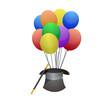hat and balloons illustration design