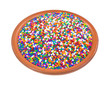 Colorful candy sprinkles in bowl