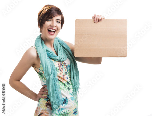 Happy woman with a cardboard