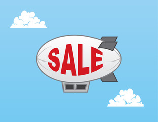 Airship blimp with sale text
