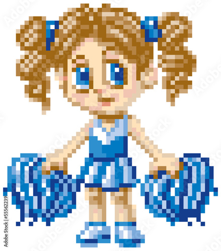 Pixel Art Cheerleader Girl Vector Illustration