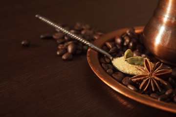 Closeup of cardamom pods, anise and brown sugar in a teaspoon