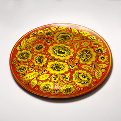 Russian tray with traditional khokhloma pattern
