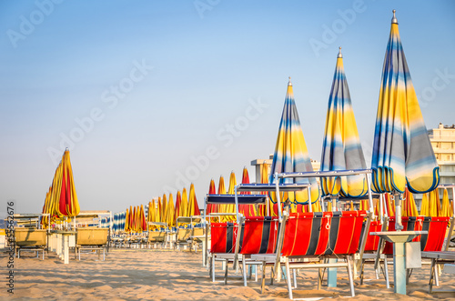 Beach Umbrellas at the end of the Season - Rimini Beach, Italy