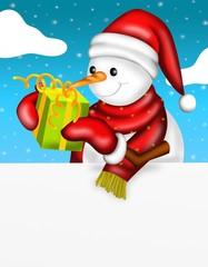 pupazzo di neve con regalo