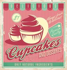 Cupcakes vintage poster design on scratched grunge background