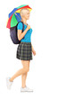 Full length portrait of a female student walking with umbrella