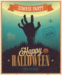 Halloween Zombi Party Poster. Vector illustratoin.