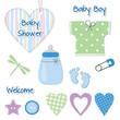 Baby boy shower card - scrapbook design elements