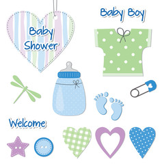 Baby boy shower card - scrapbook design elements