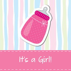 Baby girl shower card with bottle