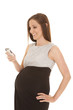 pregnant woman phone text smile
