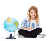 girl with globe and book - Fine Art prints
