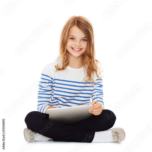 student girl with tablet pc