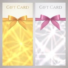 Gift certificate, Voucher, Coupon, Gift card. Gild, silver stars