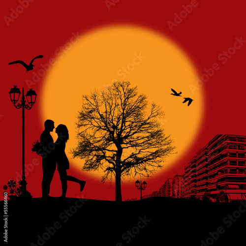 Romantic couple silhouette on cityscape